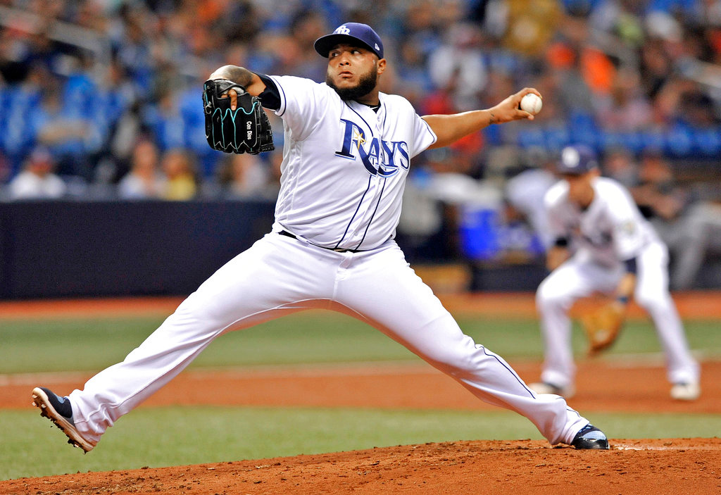. Tampa Bay Rays reliever Jose Alvarado pitches against the Detroit Tigers during the third inning of a baseball game Tuesday, July 10, 2018, in St. Petersburg, Fla. (AP Photo/Steve Nesius)