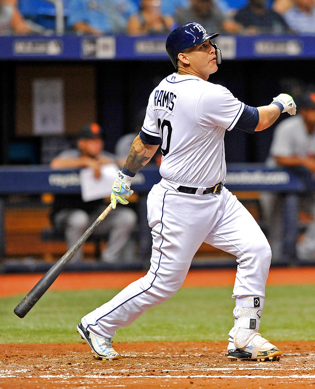 . Tampa Bay Rays\' Wilson Ramos hits a three-run home run off Detroit Tigers starter Matthew Boyd during the third inning of a baseball game Tuesday, July 10, 2018, in St. Petersburg, Fla. (AP Photo/Steve Nesius)