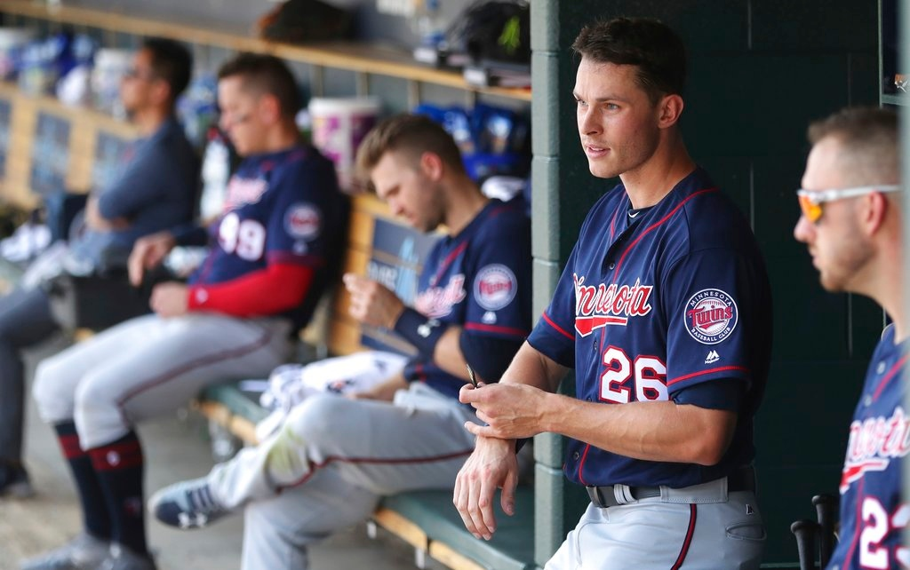 . Minnesota Twins right fielder Max Kepler (26) sits in the dugout after striking out during the ninth inning of a baseball game against the Detroit Tigers, Thursday, June 14, 2018, in Detroit. (AP Photo/Carlos Osorio)