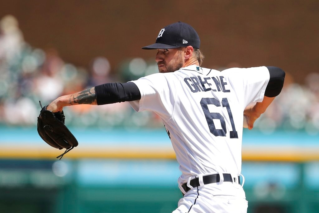 . Detroit Tigers relief pitcher Shane Greene throws during the ninth inning of a baseball game against the Minnesota Twins, Thursday, June 14, 2018, in Detroit. (AP Photo/Carlos Osorio)
