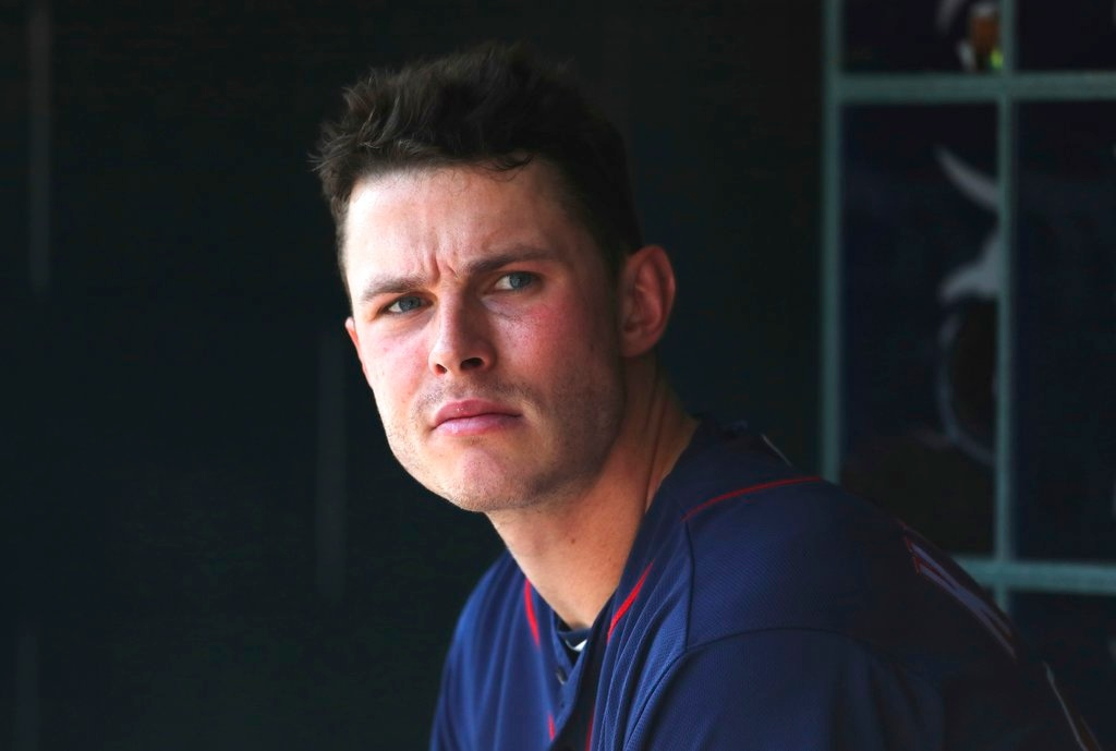 . Minnesota Twins right fielder Max Kepler is seen in the dugout during the third inning of a baseball game against the Detroit Tigers, Thursday, June 14, 2018, in Detroit. (AP Photo/Carlos Osorio)