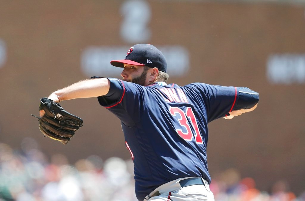 . Minnesota Twins starting pitcher Lance Lynn throws during the third inning of a baseball game against the Detroit Tigers, Thursday, June 14, 2018, in Detroit. (AP Photo/Carlos Osorio)