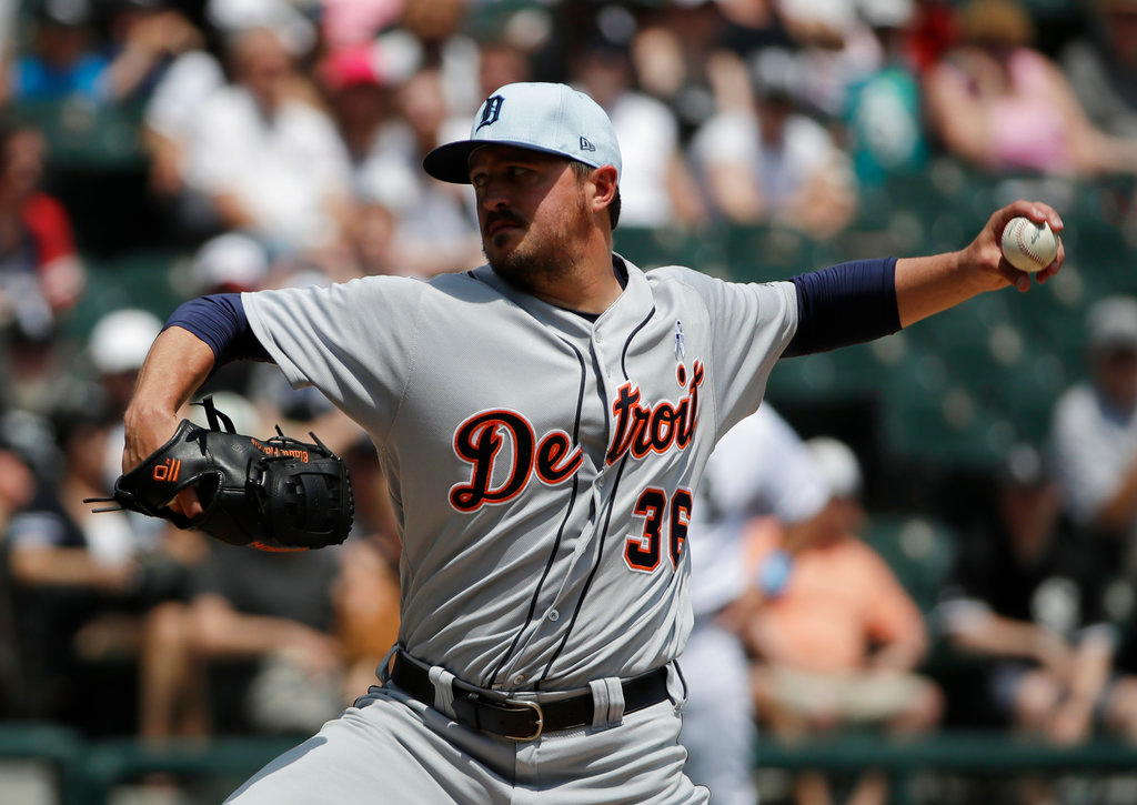 . Detroit Tigers starting pitcher Blaine Hardy throws against the Chicago White Sox during the first inning of a baseball game in Chicago, Sunday, June 17, 2018. (AP Photo/Nam Y. Huh)