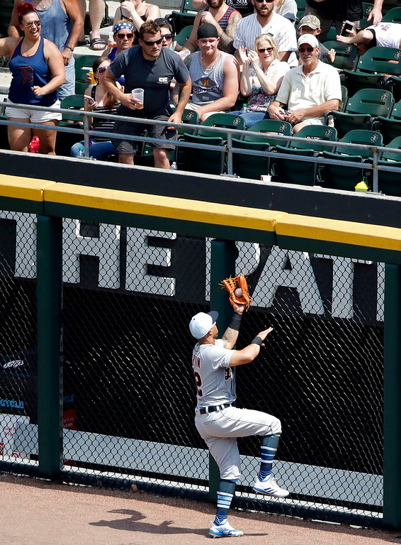 . Detroit Tigers center fielder Leonys Martin catches a fly ball by Chicago White Sox\'s Tim Anderson during the fifth inning of a baseball game in Chicago, Sunday, June 17, 2018. (AP Photo/Nam Y. Huh)