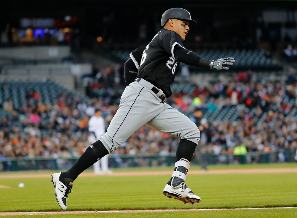 . Chicago White Sox\'s Avisail Garcia rounds the bases after hitting a solo home run against the Detroit Tigers in the second inning of a baseball game in Detroit, Friday, April 28, 2017. (AP Photo/Paul Sancya)