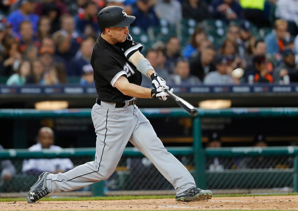 . Chicago White Sox\'s Todd Frazier hits a solo home run against the Detroit Tigers in the second inning of a baseball game in Detroit, Friday, April 28, 2017. (AP Photo/Paul Sancya)