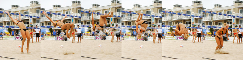 Christie Jenkins demonstrates her enthusiasm with a backflip after winning the 2013 NVL Hermosa Championshiip.