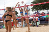 Laurie Bachler takes on the double block of Courtney Jungnickel and Amy Reichel