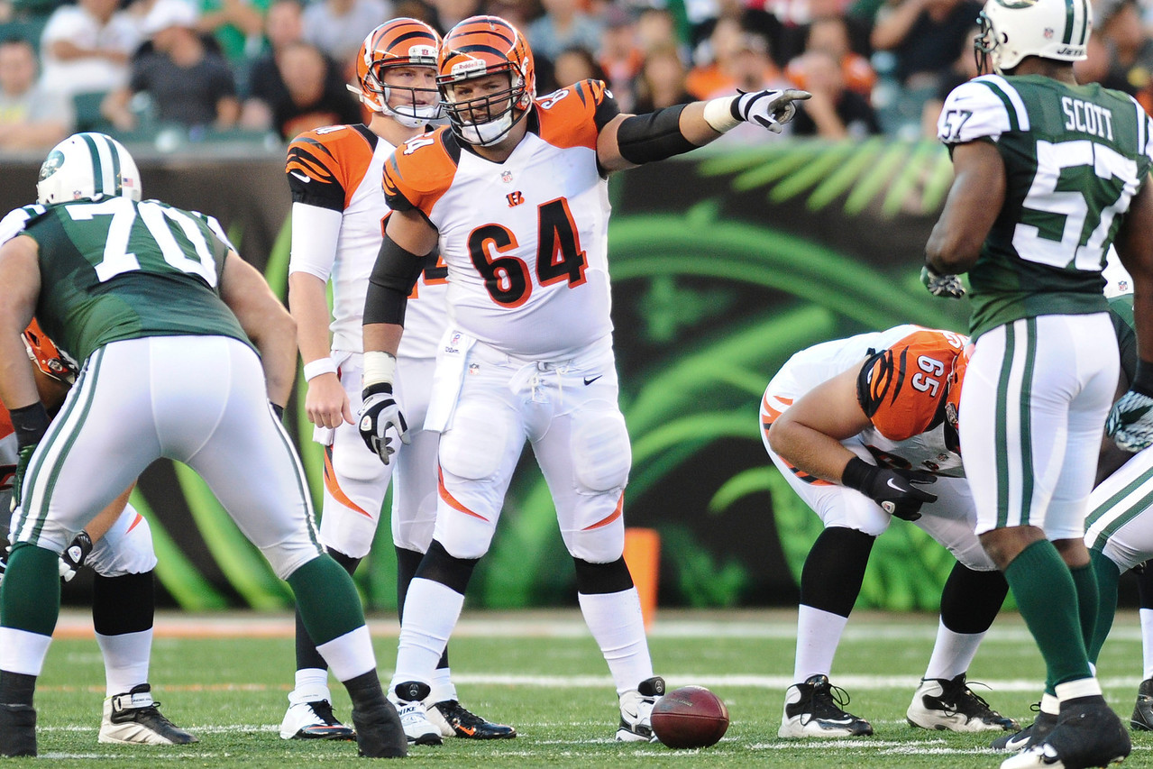 Cincinnati Bengals center Kyle Cook #64 during the game. The Cincinnati Bengals lead the New York jets 10 to 3 in the first half at Paul Brown Stadium in Cincinnati, Ohio.