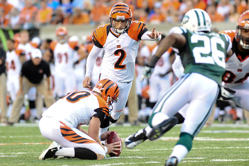 Cincinnati Bengals kicker Mike Nugent #2 kicks a field goal in the first half. The Cincinnati Bengals lead the New York jets 10 to 3 in the first half at Paul Brown Stadium in Cincinnati, Ohio.