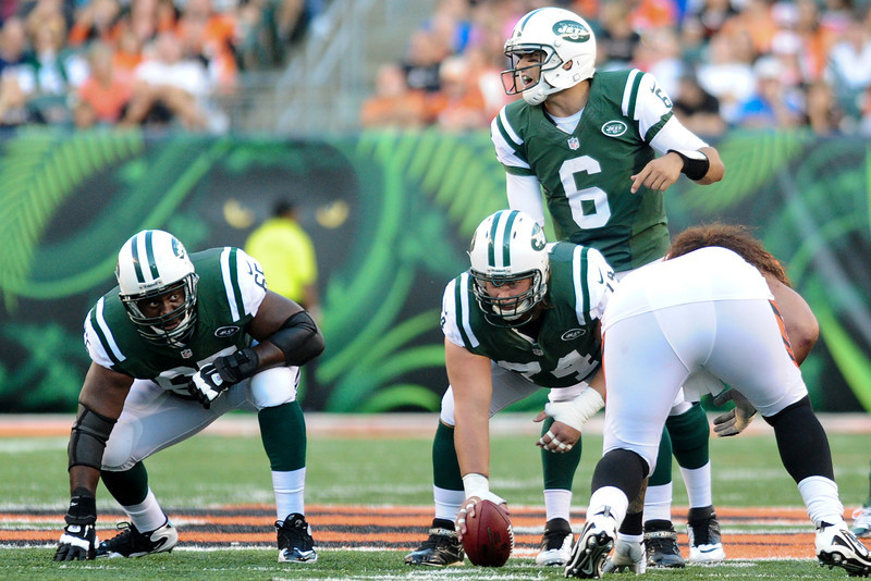 New York Jets quarterback Mark Sanchez #6 calls out the play during the game. The Cincinnati Bengals lead the New York jets 10 to 3 in the first half at Paul Brown Stadium in Cincinnati, Ohio.