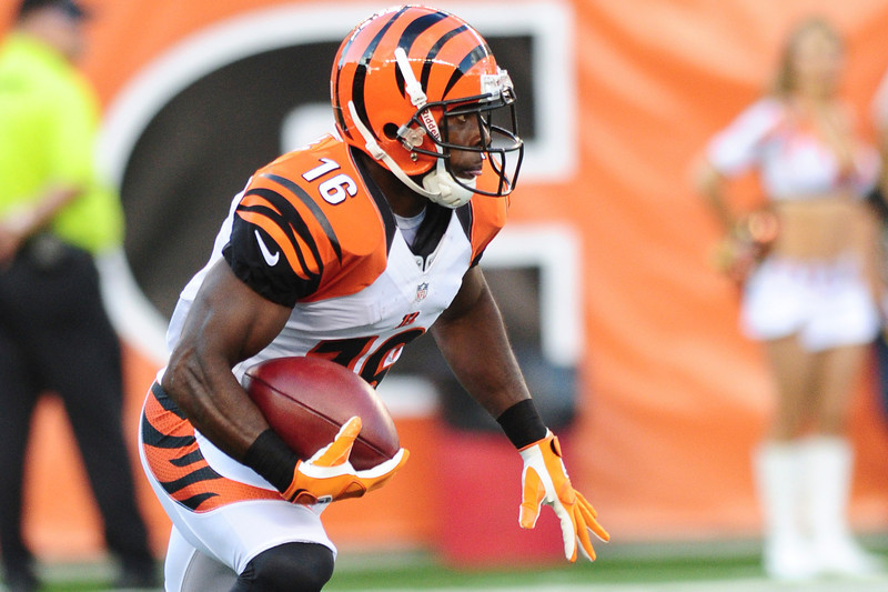 Cincinnati Bengals wide receiver Andrew Hawkins #16 during the game. The Cincinnati Bengals lead the New York jets 10 to 3 in the first half at Paul Brown Stadium in Cincinnati, Ohio.