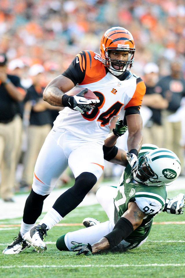 Cincinnati Bengals tight end Jermaine Gresham #84 is dragged down by New York Jets linebacker Calvin Pace #97 after a big gaine. The Cincinnati Bengals lead the New York jets 10 to 3 in the first half at Paul Brown Stadium in Cincinnati, Ohio.