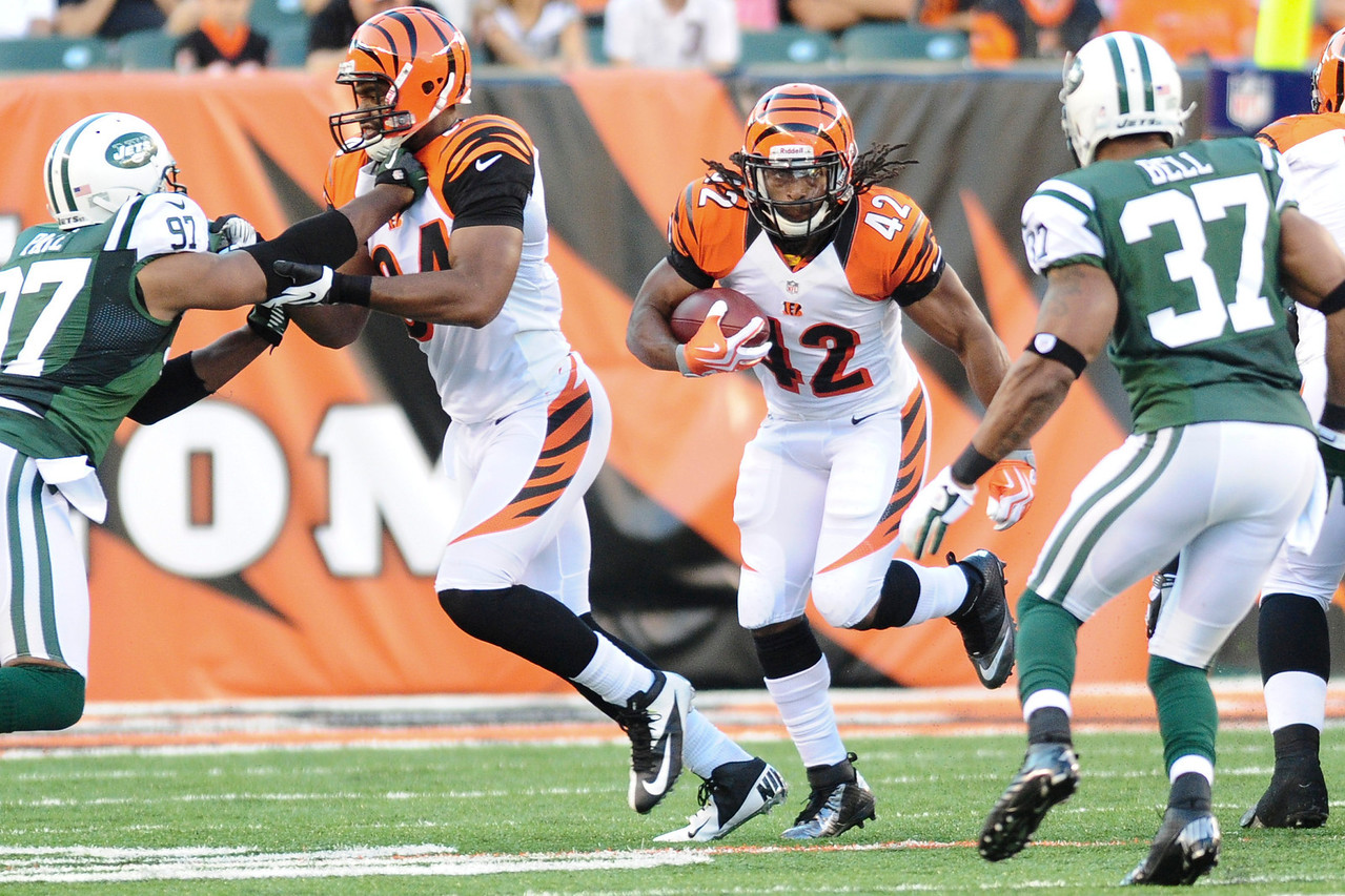 Cincinnati Bengals running back BenJarvus Green-Ellis #42 during the game. The Cincinnati Bengals lead the New York jets 10 to 3 in the first half at Paul Brown Stadium in Cincinnati, Ohio.