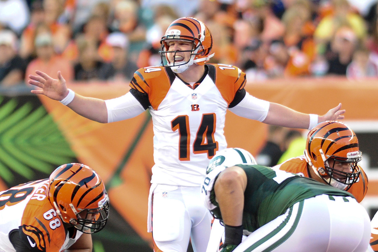 Cincinnati Bengals quarterback Andy Dalton #14 during the game. The Cincinnati Bengals lead the New York jets 10 to 3 in the first half at Paul Brown Stadium in Cincinnati, Ohio.