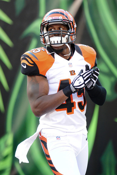 Cincinnati Bengals defensive back Jeromy Miles #45 before the game. The Cincinnati Bengals lead the New York jets 10 to 3 in the first half at Paul Brown Stadium in Cincinnati, Ohio.