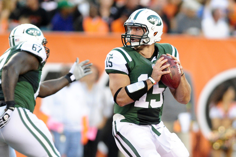 New York Jets quarterback Tim Tebow #15 during the game. The Cincinnati Bengals lead the New York jets 10 to 3 in the first half at Paul Brown Stadium in Cincinnati, Ohio.