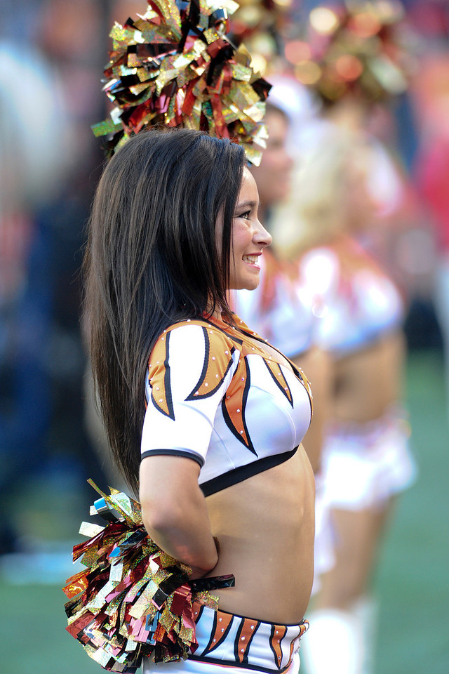 Cincinnati Bengals cheerleader during the game. The Cincinnati Bengals lead the New York jets 10 to 3 in the first half at Paul Brown Stadium in Cincinnati, Ohio.