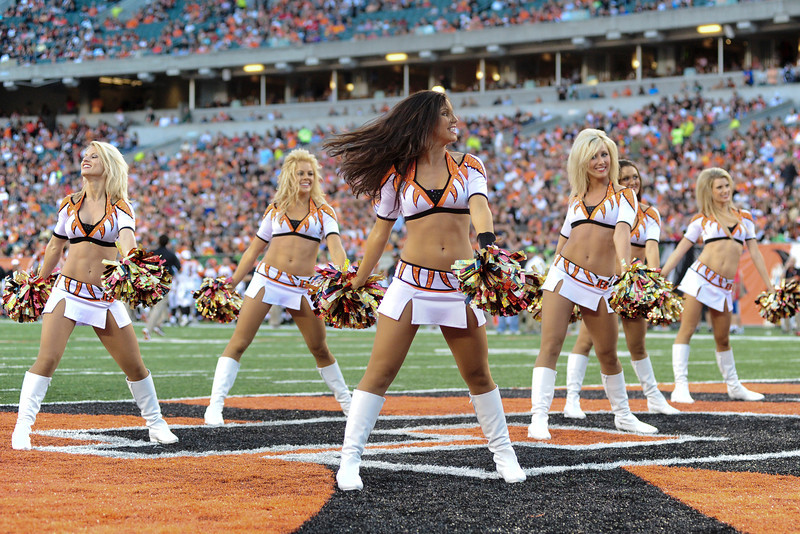 Cincinnati Bengals cheerleaders during the game. The Cincinnati Bengals lead the New York jets 10 to 3 in the first half at Paul Brown Stadium in Cincinnati, Ohio.