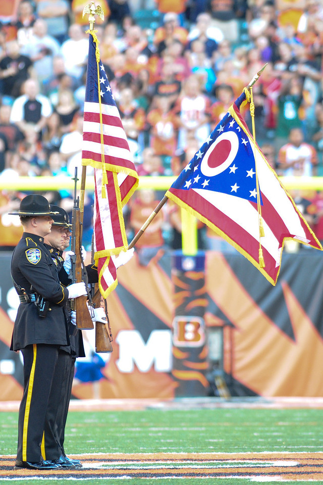 State of Ohio Honor Guard before the game. The Cincinnati Bengals lead the New York jets 10 to 3 in the first half at Paul Brown Stadium in Cincinnati, Ohio.