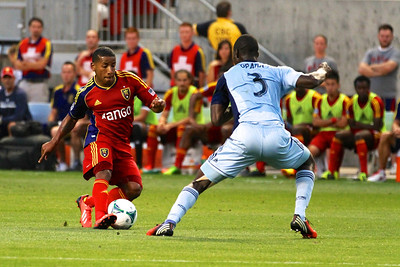 Real Salt Lake vs Sporting KC 7-20-2013. RSL loses to Sporting KC 1 -2. Joao Plata (8)