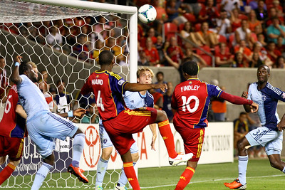 Real Salt Lake vs Sporting KC 7-20-2013. RSL loses to Sporting KC 1 -2. Robbie Findley (10)