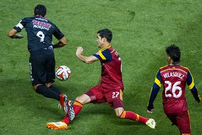 Real Salt Lake vs Club Tijuana at Rio Tinto Stadium 08-12-2014. RSL draws with Club Tijuana 1-1.