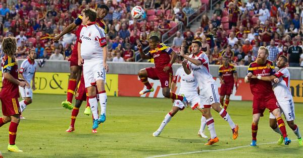 Real Salt Lake vs DC United at Rio Tinto Stadium 08-09-2014. RSL defeats DC United 3 - 0. Nick Rimando Breaks the MLS shutout record.