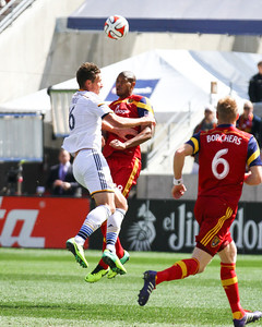 Real Salt Lake vs LA Galaxy at Rio TInto Stadium 03-22-2014. RSL ties LA 1-1.