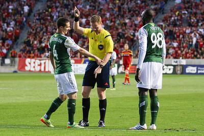 Real Salt Lake vs Portland Timbers at Rio TInto Stadium 04-19-2014. RSL defeats Portland 1-0.