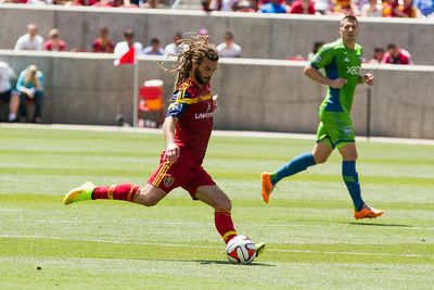 Real Salt Lake vs Seattle Sounders at Rio Tinto Stadium 08-16-2014. RSL defeats Seattle 2-1.