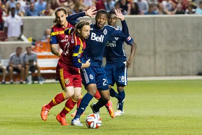Real Salt Lake vs Vancouver Whitecaps at Rio Tinto Stadium 07-19-2014. RSL and Vancouver draw 1-1.