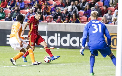 Real Salt Lake versus Houston Dynamo at Rio Tinto Stadium on 04-30-2016. RSL defeats the Dynamos 2-1. #asone  #believe  ©2016 Bryan Byerly