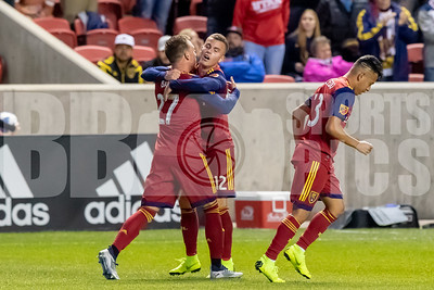 Real Salt Lake vs New England Revolution at Rio Tinto Stadium in Sandy, UT. 10-18-2018. RSL defeat the Revolution 4-1. © 2018 Bryan Byerly