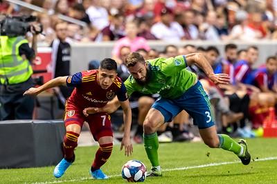 Sandy, UT - Wednesday August 14, 2019: Real Salt Lake vs Seattle Sounders at Rio Tinto Stadium. ©2019 Bryan Byerly