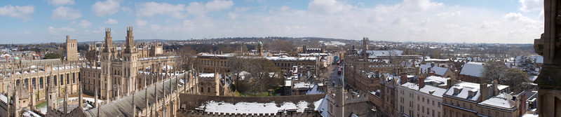 Panoramic view from St.Mary the Virgin's tower of Oxford