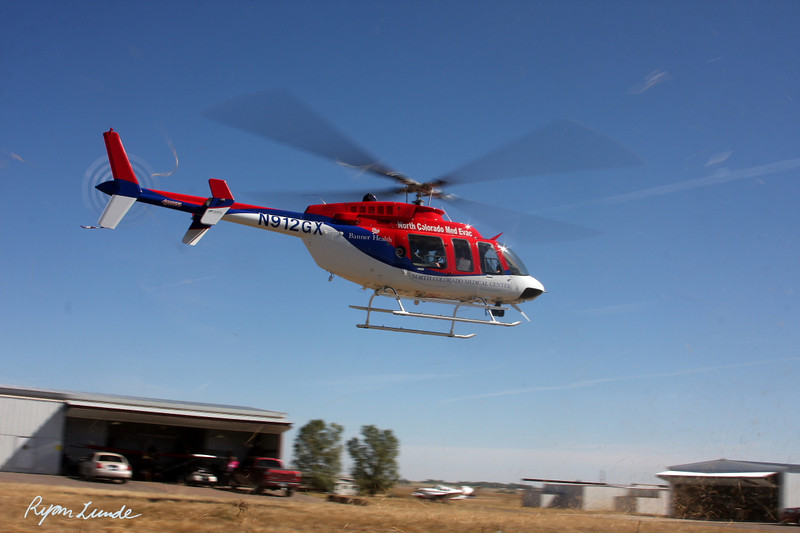 Northern Colorado Med Evac Helicopter.  Hudson, Colorado