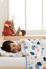 """aden + anais - Organic Muslin Toddler Bed in a Bag - Lifestyle<br /> Style: """"Into the Woods""""<br /> Includes:<br /> Flat Sheet/Fitted Sheet Combo - Dimensions: Fitted: 134cm x 76cm x 24cm - Flat: 160cm x 127cm<br /> Dream Blanket (four layers muslin) - Dimensions: 147cm x 107cm<br /> Pillow and Pillow Case - Dimensions: Pillow: 56cm x 30cm - Pillow Case: 58cm x 36cm<br /> SRP INC GST - $299.00"""