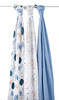 "aden + anais - Organic Muslin Swaddle - 3 Pack<br /> Style: ""Into The Woods""<br /> Designs: ""Foxy"", ""Thicket"", Solid Colour: Blue<br /> Swaddle Dimensions: Large - 120cm x 120cm<br /> SRP INC GST - $99.00"