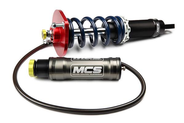 MCS Remote Reservoir 2-Way Adjustable Shocks for Mazda Miata Shown With Vorshlag Shock Mount & Optional Spring