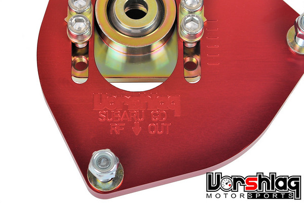 Engraving Detail on Vorshlag's updated, high caster, aluminum Subaru GD front camber plates.