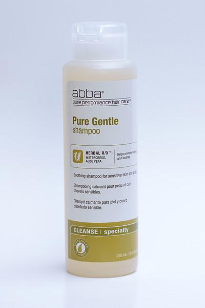 Shampoo product shot on plain white seamless background.