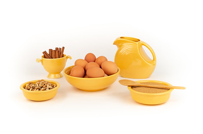 Farm Fresh Organic Free Range Eggs, Walnuts, Organic Sugar, Cinnamon, in Vintage Yellow Fiesta Ware with Large Pitcher. Farm to Table