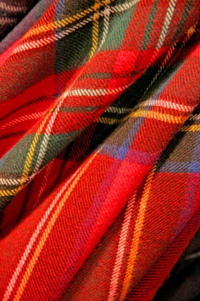 Close up of tartan fabric.