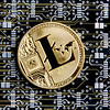 Litecoin gold coin representing cryptocurrencies, against a computer circuit background.