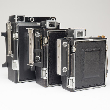 Three Sizes of Crown Graphic Cameras