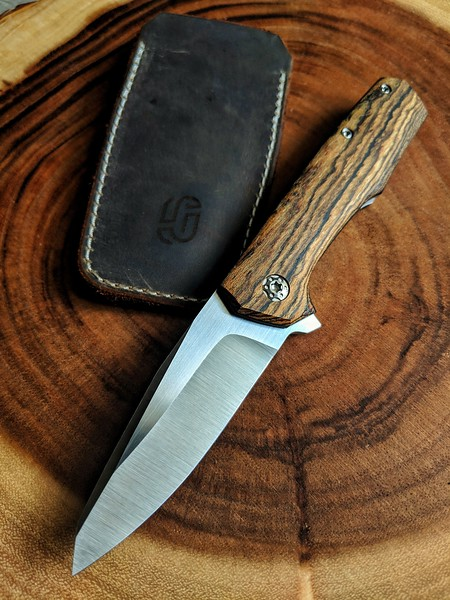 Jared Oeser Nebo V.2 prototype with stabilized Bocote wood over black scales.