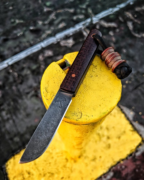Rainy Day Knives full custom Kwaiken fixed Blade with burlap micarta scales, brown micarta hardware and brown micarta Scoopyloops bead.
