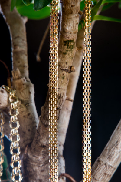 Hanging gold chains.