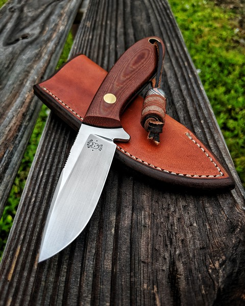 Krein Knives TK-3 Whitetail Hunter full custom fixed blade in D2 steel with brown micarta scales and brass hardware.